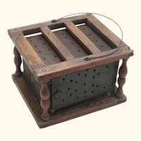 Fascinating Early American Tole Foot-warmer in Wood-turned Box, 19th Century