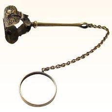 "Gorgeous Gold, Enamel & Pearl Finger Ring Handkerchief Holder, c1900, inscribed ""Nellie"""