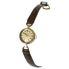 Dainty Tiffany/Movado 14K Gold Wristwatch with Original Leather Band, Vintage