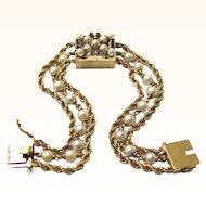 Elegant 14K Gold Bracelet Watch with Sapphires & Pearls, Vintage
