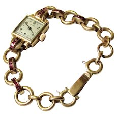 Elegant Gold and Ruby Ladies Wristwatch with Matching Band, Maker 'Revue', Vintage