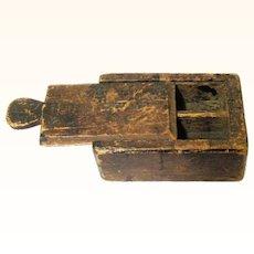 Appealing Primitive Treen Box with Sliding Lid, Folk Art