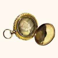 Attractive Gilt Metal Watch-form Daguerreotype Locket, mid-19th Century