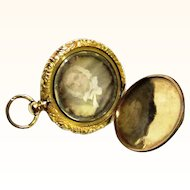 Attractive Gilt Metal Watch-form Daguerreotype Locket, mid-19th Century