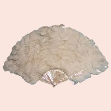 Flamboyant Ostrich Feather & Mother of Pearl Fan, Duvelleroy, in Original Box, Edwardian