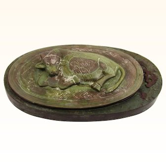 Oriental Inkstone with Bovine Carving on the Lid, c1940