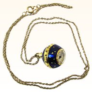 Stylish Pendant Enamel & Gilt Ball Watch, Consul, Vintage