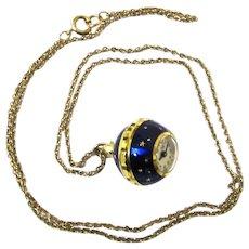 Stylish Pendant Enamel & Gilt Ball Watch, Consul, Vintage