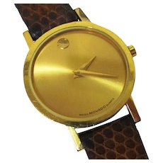 Elegant Gold-faced Movado 'Museum' Watch, Boxed, Vintage