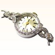 Sparkling 18K White Gold, Platinum & Diamond Bulova Ladies Watch, Vintage