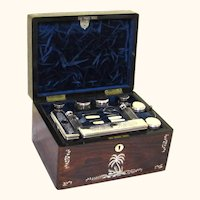 Extraordinarily Complete Rosewood & Mother of Pearl Lady's Dressing Case, c1880