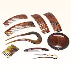 Charming Selection of Faux Tortoiseshell Hair Combs, Vintage