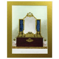 Lovely Chromolithograph Depicting a Sumptuous Dressing Case, Victorian
