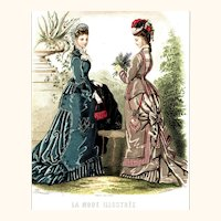 Charming Fashion Plate of Two Ladies in Bustle Gowns, Chatelaine Purse, La Mode Illustrée, c1876