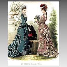 Charming Fashion Plate of Two Ladies in Bustle Gowns, Chatelaine Purse, La Mode Illustrée, c1876