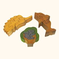 Group of Vintage Wooden Puzzles, Koala, Echidna & Dolphin, Australian-made