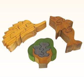 Group of Vintage Wooden Puzzles, Koala, Echidna & Dolphin, Australian-made