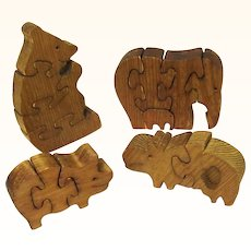 Collection of Four Vintage Wooden Puzzles, Bear, Elephant with Baby, Pig & Hippopotamus, Australian-made