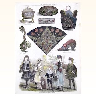 """""""Fancy-work Engravings"""" Page from The Young Ladies' Journal, depicting Various Needlework Projects, late 19th century"""