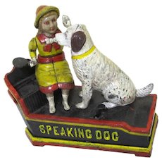 "Cast Iron ""Speaking Dog"" Mechanical Bank, Vintage"
