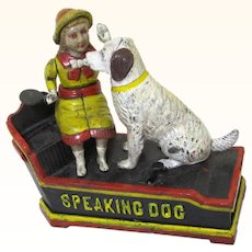 "Cast Iron ""Speaking Dog"" Mechanical Bank, Vintage"