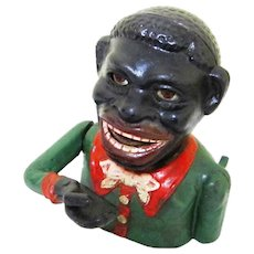 "Cast Iron Figural ""Jolly"" Mechanical Bank, Vintage"