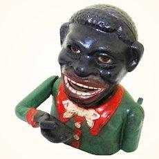 "Cast Iron Figural ""Jolly"" Mechanical Bank, Vintage"