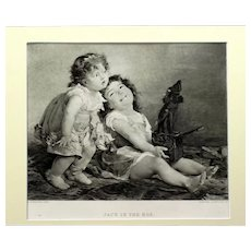 Engraving of Children Playing with a Jack-in-the-box, late 19th Century