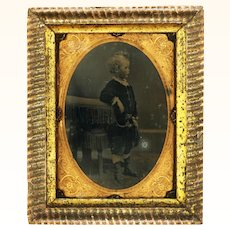 Delicious Framed Ambrotype of Child with Complex Chains & Hunting Horn Fob, c1850