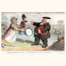 """Satirical Hand-Coloured Engraving entitled """"A Tenth Rejected or The Dandyfied Coxcomb in a Bandbox"""", 1824"""