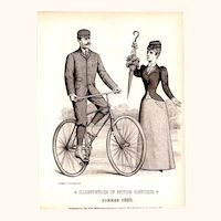 Black & White Fashion Plate of Gentleman Riding Bicycle & Lady Holding Parasol, 1893