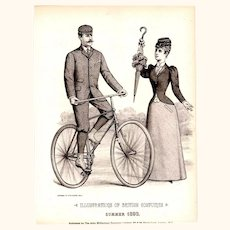 Black & White Fashion Plate of Gentleman Riding Bicycle & Lady Holding Parasol, 1893