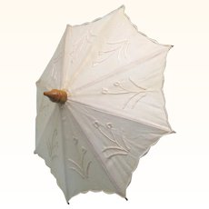 Treen & Embroidered Cotton Doll Parasol, Vintage