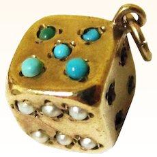 Gorgeous Tiny 9ct Gold & Semi-precious Stone Dice Charm, Vintage