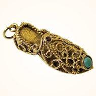 Delicious 9ct Gold, Turquoise & Garnet Slipper Charm, Vintage