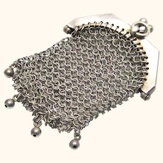 Continental Silver Coin Purse for a Doll or Chatelaine, c1900