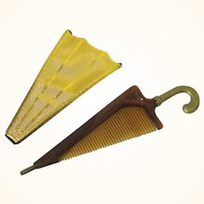 Fun Comb & Holder in Parasol/Umbrella-form, Vintage