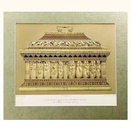 Stunning Chromolithograph depicting a Venetian Bone & Wood Casket of the 14th Century, c1865