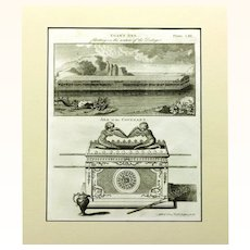 Engraving of Noah's Ark and Ark of the Covenant, 1817