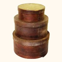 Graduated Stack of Three Bentwood Pantry Boxes, Americana, 19th Century