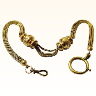Stunning Gold Watch Chain with Two Slides, Early Swivel & Bolt Ring, Jane Austen-era