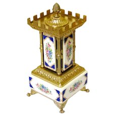 Ceramic & Gilt Italian Cigar Carousel Musical Box, Late Victorian