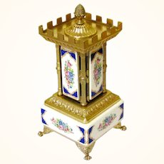Ceramic & Gilt Italian Cigar Carousel Musical Box, Late Victorian