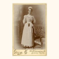 Special Cabinet Card of Charming Nurse wearing Chatelaine, Brooch Watch & Safety Pins, USA, c1890s