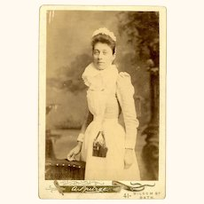 Charming Cabinet Card of Young Nurse Wearing Classic Leather Fitted Chatelaine, English, c1890
