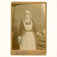 Sepia Cabinet Card of a Nurse with Complex Waist-hung Chatelaine, English, c1890s