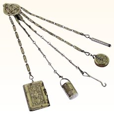 Lovely Complete Deeply Patterned Steel Sewing/Needlework Chatelaine, Late 19th Century