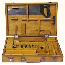 Intriguing Treen Boxed Set of Carpentry Tools for a Child, Polish, Vintage