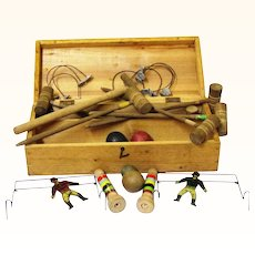 Interesting Boxed Set of Table Croquet, Vintage