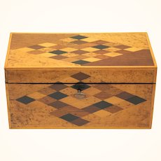 Appealing Specimen Timbers Tea Caddy, late Victorian